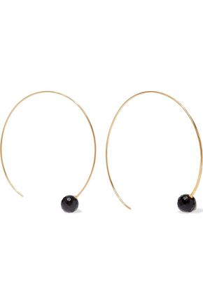 CHAN LUU 18-karat gold-plated sterling silver onyx hoop earrings