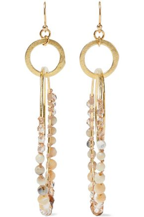 CHAN LUU Gold-tone, multi-stone and cord hoop earrings