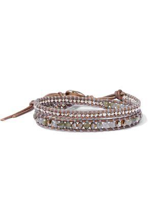 CHAN LUU Sterling silver, leather, Swarovski crystal and labradorite wrap bracelet