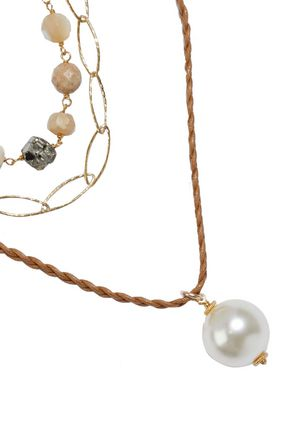 CHAN LUU 18-karat gold-plated sterling silver, multi-stone and cord necklace