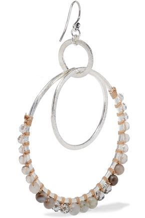 CHAN LUU Silver-tone, multi-stone and cord hoop earrings