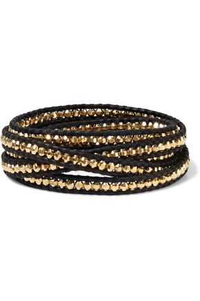 CHAN LUU 18-karat gold-plated sterling silver and leather wrap bracelet