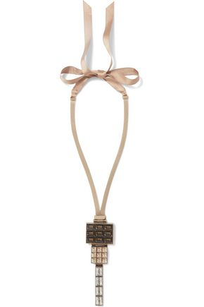 LANVIN Gold-tone, silk and crystal necklace
