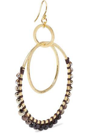 CHAN LUU Gold-tone, multi-stone and cord hoop earrings
