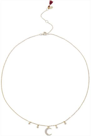 SHASHI Luna 18-karat gold vermeil crystal necklace
