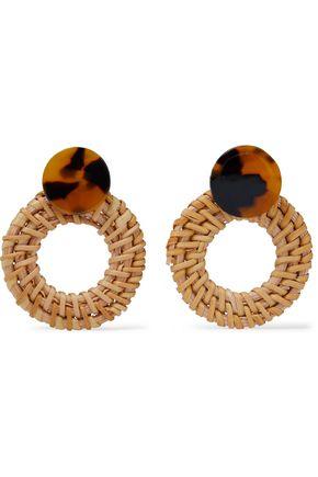 SHASHI Barbados tortoiseshell resin and rattan earrings
