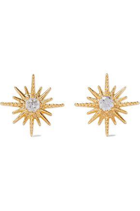 SHASHI Celestina 18-karat gold-plated crystal earrings