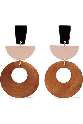 SHASHI Moda gold-tone, wood and resin earrings