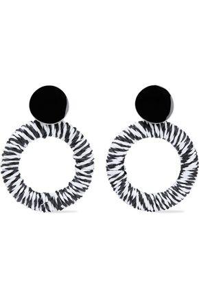 SHASHI Black Widow silver-tone cord and enamel earrings