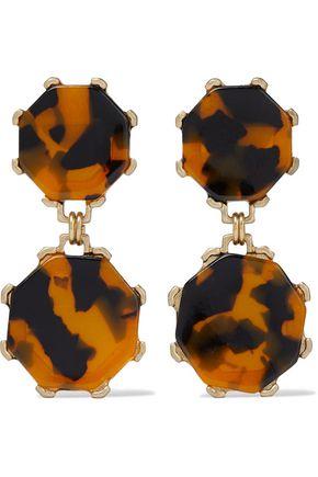 SHASHI Cassie gold-plated tortoiseshell resin earrings