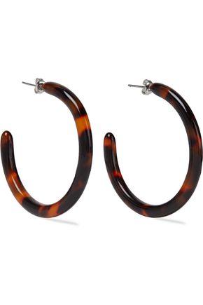 SHASHI Leah silver-tone tortoiseshell acetate hoop earrings