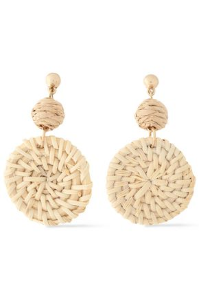 SHASHI St. Barths gold-plated rattan earrings