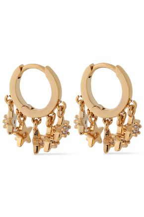 SHASHI Ashley Huggie gold-plated sterling silver crystal earrings