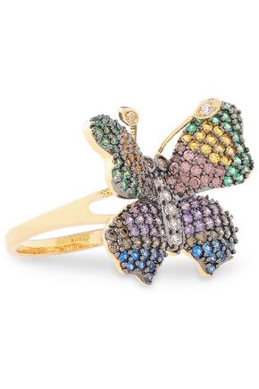 CZ by KENNETH JAY LANE Gold-tone and rhodium-plated crystal ring