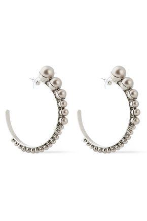 ELIZABETH COLE Silver-tone faux pearl earrings