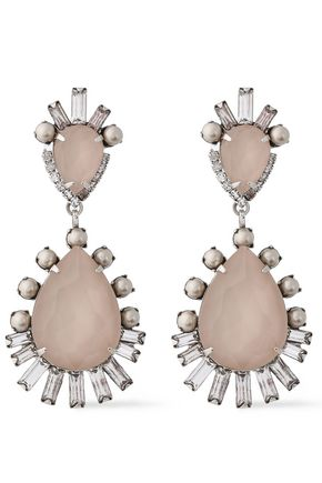 ELIZABETH COLE Oakley silver-tone, stone,  Swarovski pearl and crystal earrings