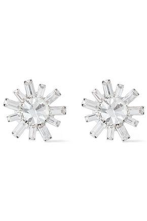 ELIZABETH COLE Silver-tone Swarovski crystal earrings