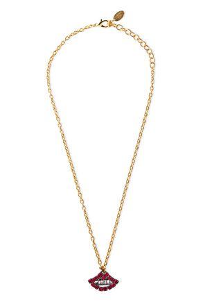 ELIZABETH COLE The Kissy 24-karat gold-plated crystal necklace
