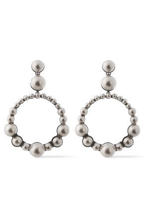 ELIZABETH COLE The Maddox silver-tone faux pearl earrings