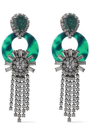 ELIZABETH COLE Gunmetal-tone Swarovski crystal and acetate earrings