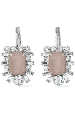 ELIZABETH COLE The Petrina silver-tone, Swarovski crystal and stone earrings