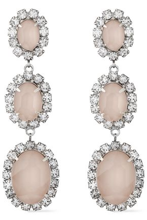 ELIZABETH COLE The Lawrence silver-tone, Swarovski crystal and stone earrings