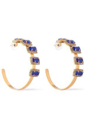 ELIZABETH COLE Jalus 24-karat gold-plated, stone and crystal hoop earrings