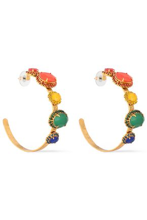 ELIZABETH COLE The Mena 24-karat gold-plated, crystal and stone hoop earrings