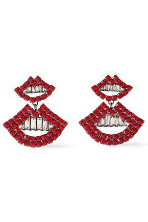 ELIZABETH COLE The Smile gunmetal-tone crystal earrings