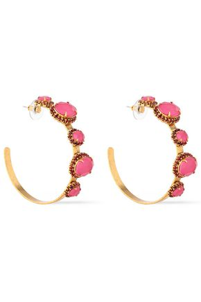 ELIZABETH COLE The Mena 24-karat gold-plated, crystal and stone earrings