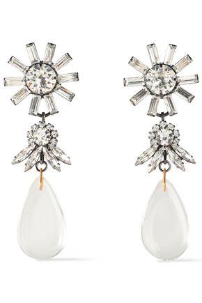 ELIZABETH COLE Gunmetal and gold-tone Swarovski crystal earrings