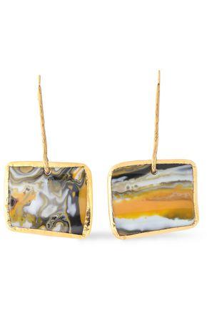 MISSONI Burnished gold-tone printed resin earrings