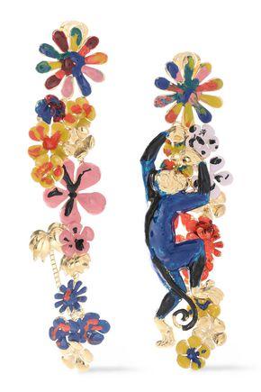 MISSONI Gold-tone enamel clip earrings