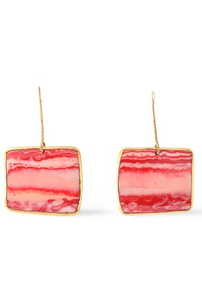 MISSONI Burnished gold-tone printed resin earrings