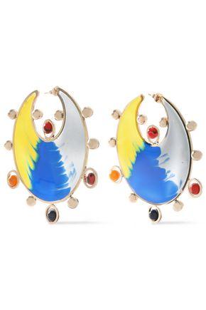 MISSONI Gold-tone, printed resin and enamel earrings