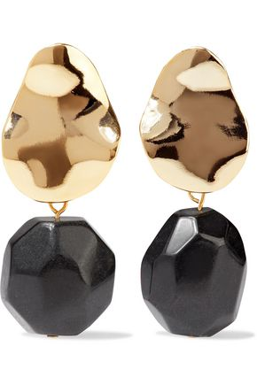 IRIS & INK Thurid 18-karat gold-plated onyx earrings