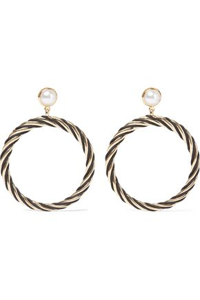 IRIS & INK Tekla 18-karat gold-plated Swarovski pearl earrings