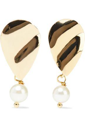 IRIS & INK Torny hammered 18-karat gold-plated faux pearl earrings