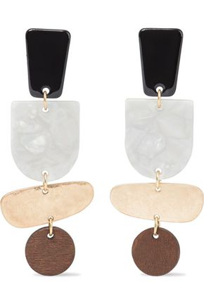 IRIS & INK Zabine burnished 18-karat gold-plated, marbled acetate and wood earrings