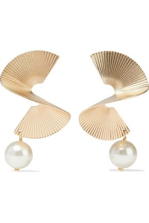 IRIS & INK Torny 18-karat gold-plated Swarovski pearl earrings