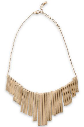 KENNETH JAY LANE Hammered gold-plated necklace