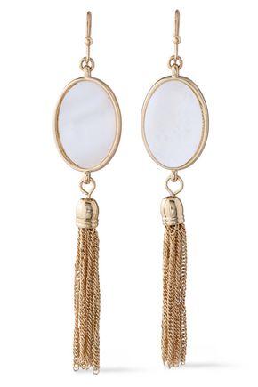 KENNETH JAY LANE Gold-tone faux pearl tasseled earrings