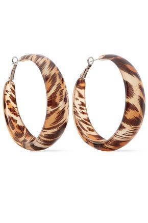KENNETH JAY LANE Leopard-print resin hoop earrings