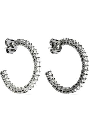 CZ by KENNETH JAY LANE Rhodium-plated silver-tone crystal hoop earrings