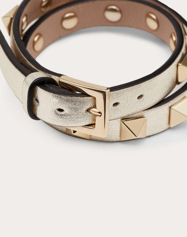 Double-Loop-Armband Rockstud aus Leder