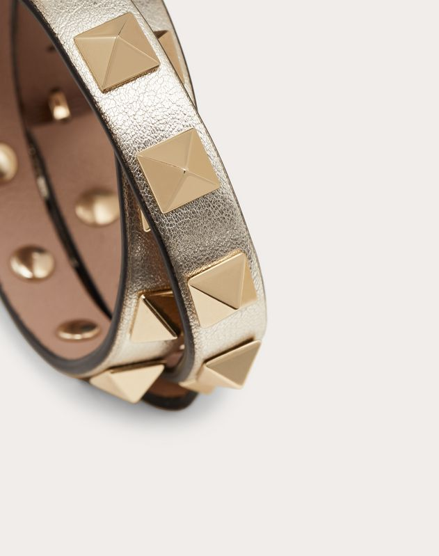 Rockstud leather double-strap bracelet