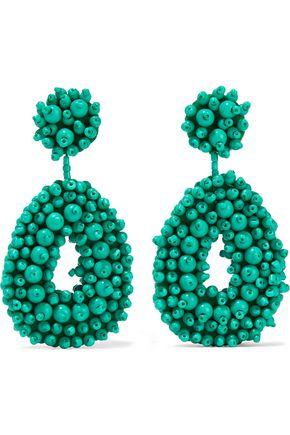 KENNETH JAY LANE Gold-tone, bead and felt earrings