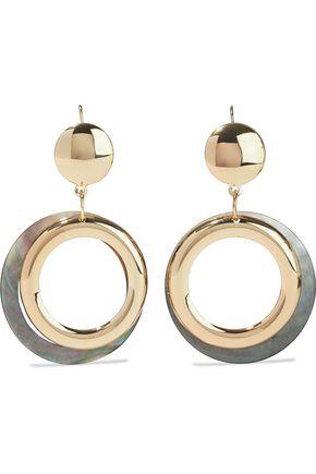 KENNETH JAY LANE Gold-plated faux shell hoop earrings