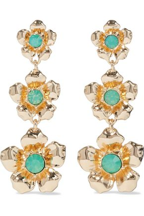 KENNETH JAY LANE Gold-plated crystal-embellished earrings