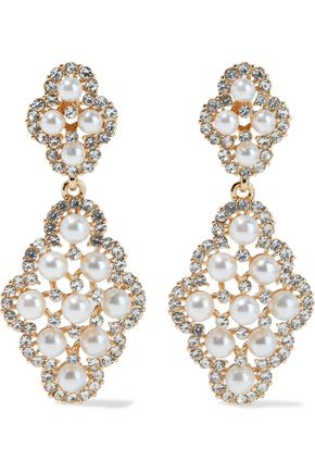 KENNETH JAY LANE Gold-plated, faux pearl and crystal earrings